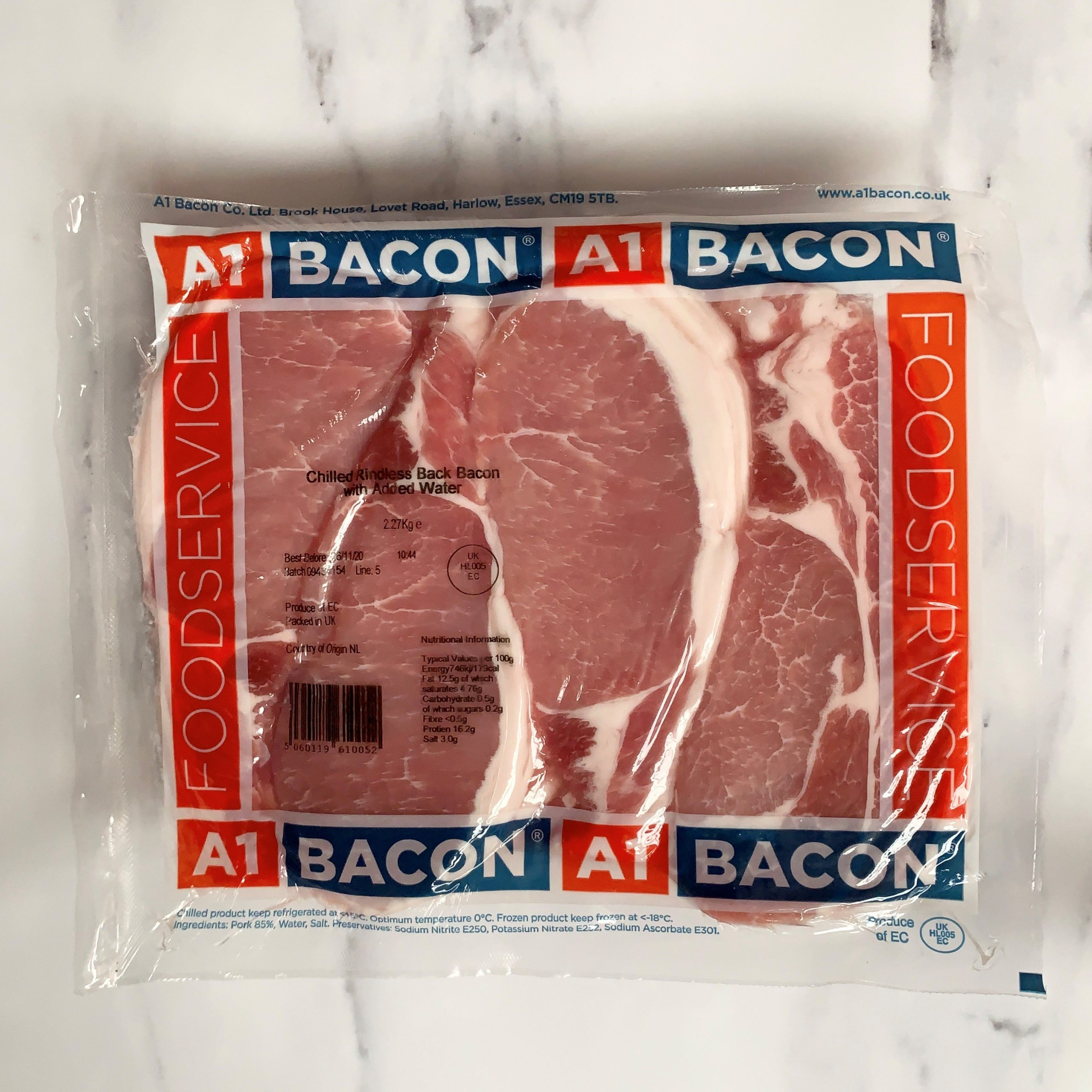A1 Unsmoked Back Bacon – 2.27kg