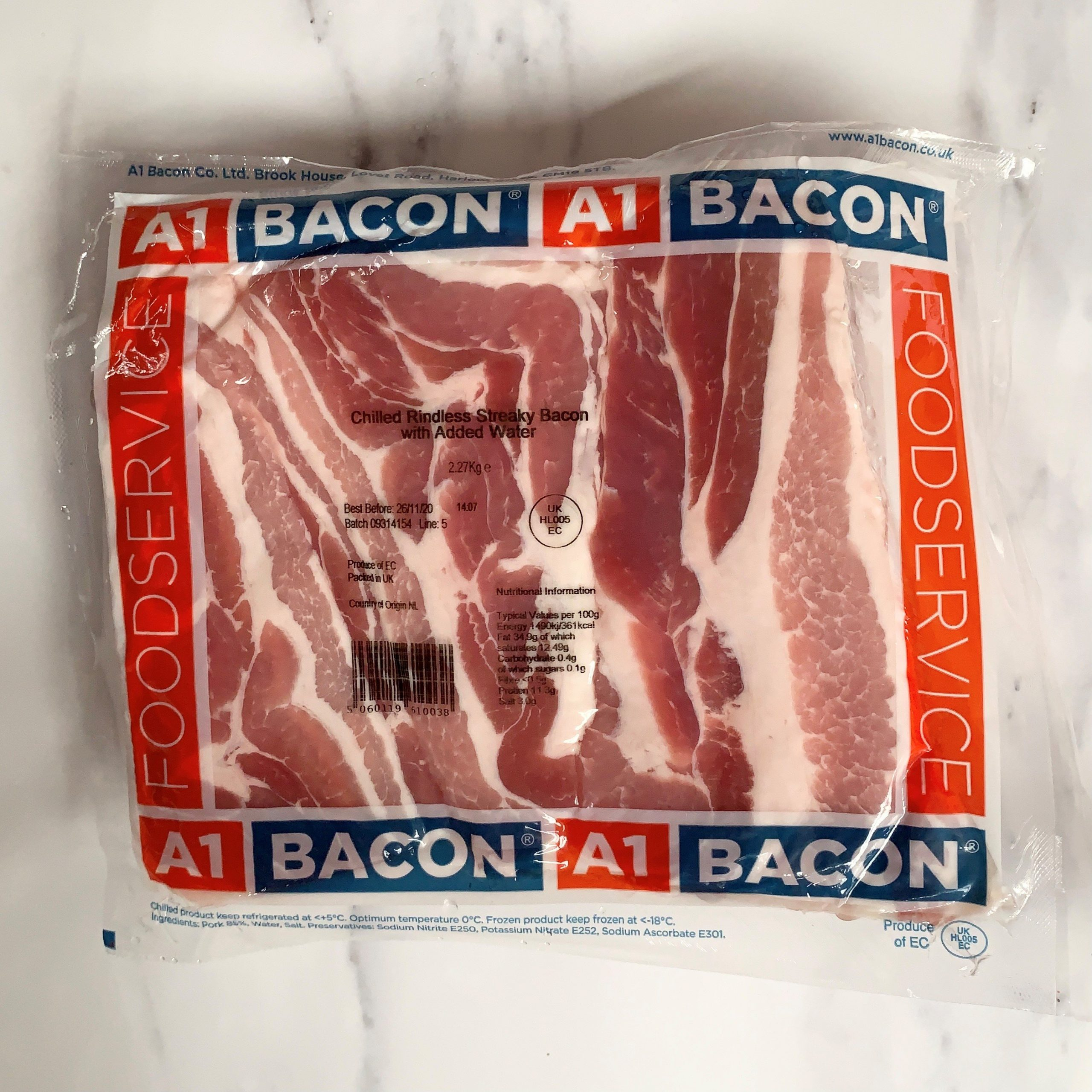 A1 Unsmoked Streaky Bacon – 2.27kg